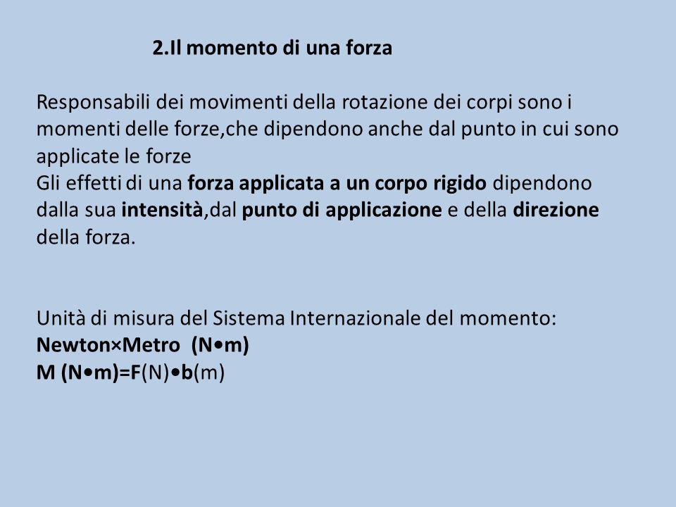 2.Il momento di una forza Responsabili dei movimenti della rotazione dei corpi sono i momenti delle forze,che dipendono anche dal punto in cui sono ap