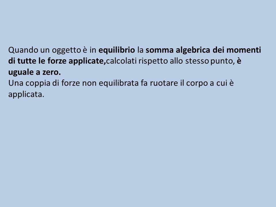 Quando un oggetto è in equilibrio la somma algebrica dei momenti di tutte le forze applicate,calcolati rispetto allo stesso punto, è uguale a zero. Un