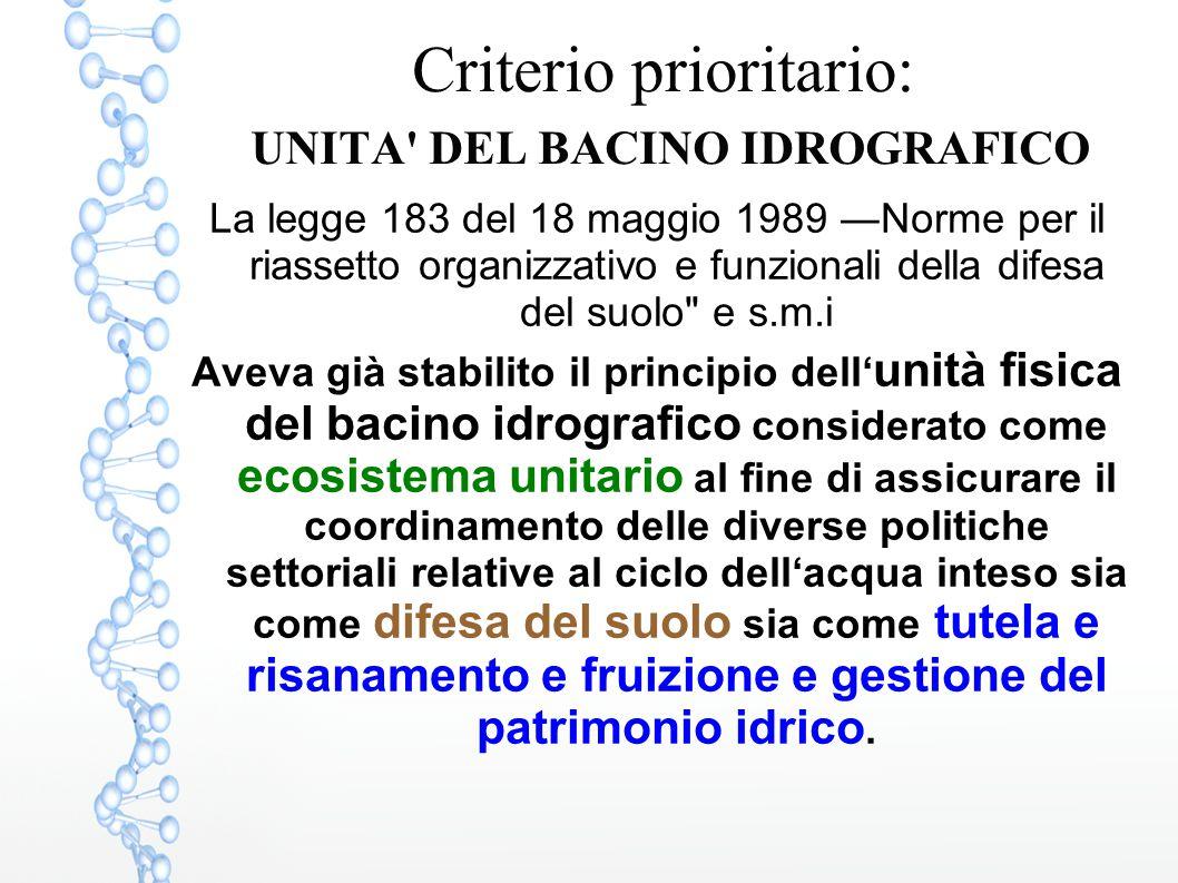 Criterio prioritario: UNITA' DEL BACINO IDROGRAFICO La legge 183 del 18 maggio 1989 ―Norme per il riassetto organizzativo e funzionali della difesa de