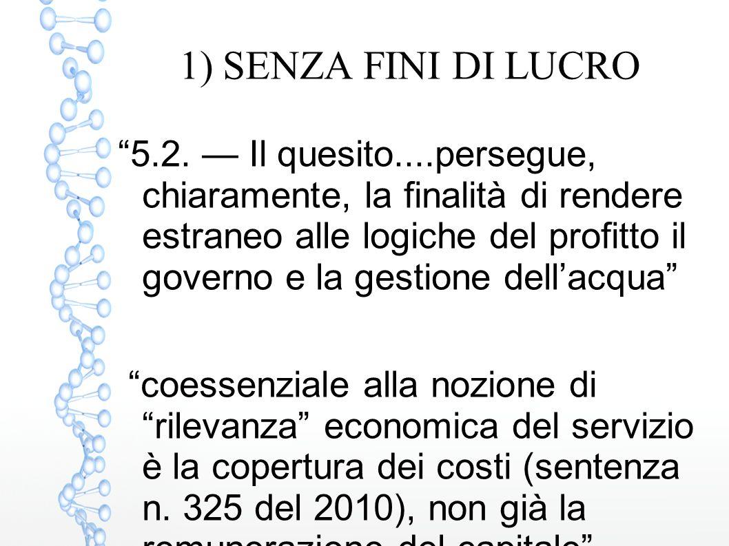 """1) SENZA FINI DI LUCRO """"5.2. — Il quesito....persegue, chiaramente, la finalità di rendere estraneo alle logiche del profitto il governo e la gestione"""