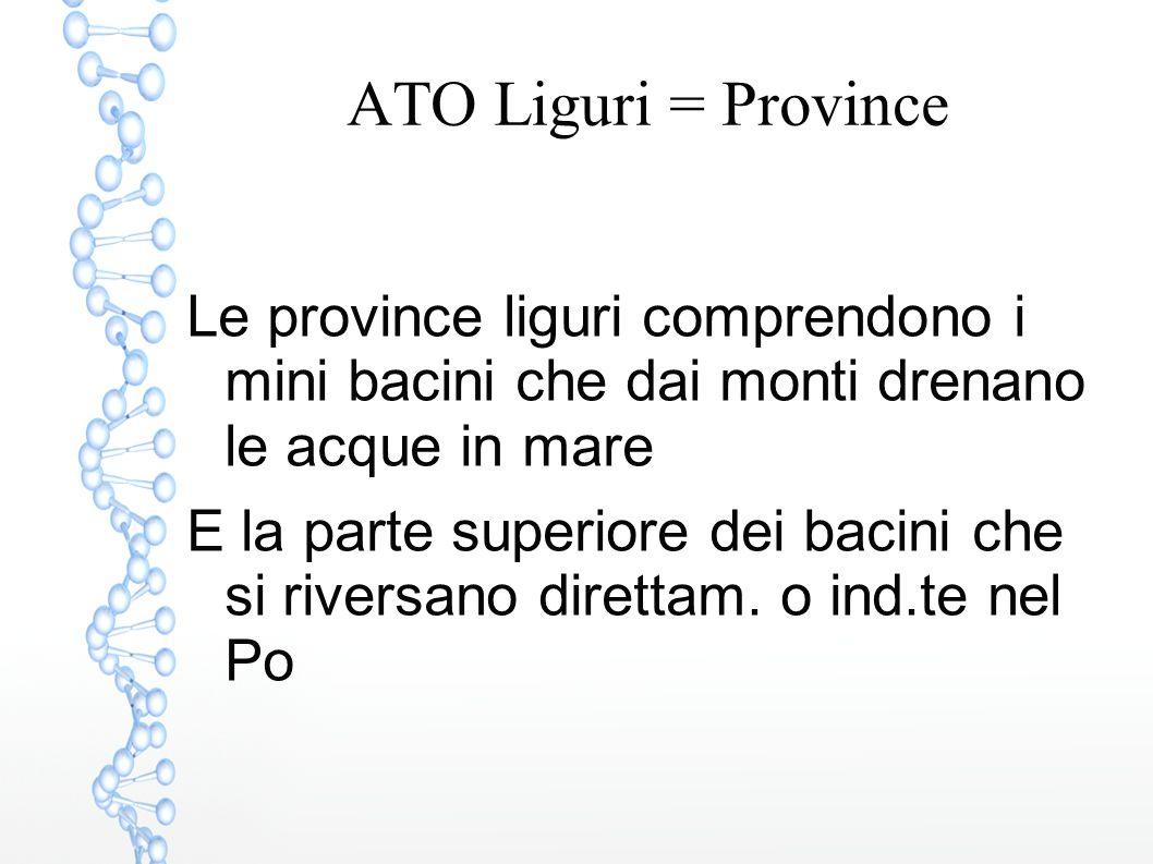 ATO Liguri = Province Le province liguri comprendono i mini bacini che dai monti drenano le acque in mare E la parte superiore dei bacini che si river