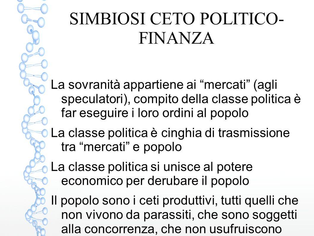 """SIMBIOSI CETO POLITICO- FINANZA La sovranità appartiene ai """"mercati"""" (agli speculatori), compito della classe politica è far eseguire i loro ordini al"""