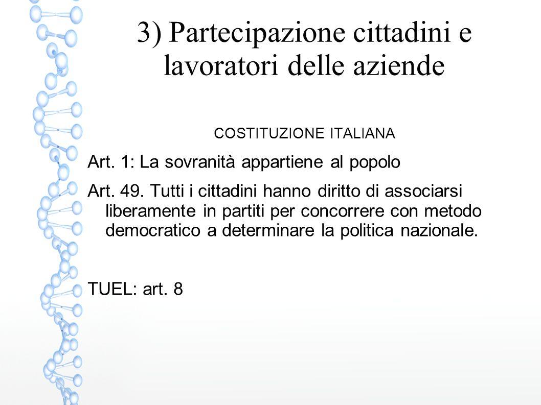 3) Partecipazione cittadini e lavoratori delle aziende COSTITUZIONE ITALIANA Art. 1: La sovranità appartiene al popolo Art. 49. Tutti i cittadini hann