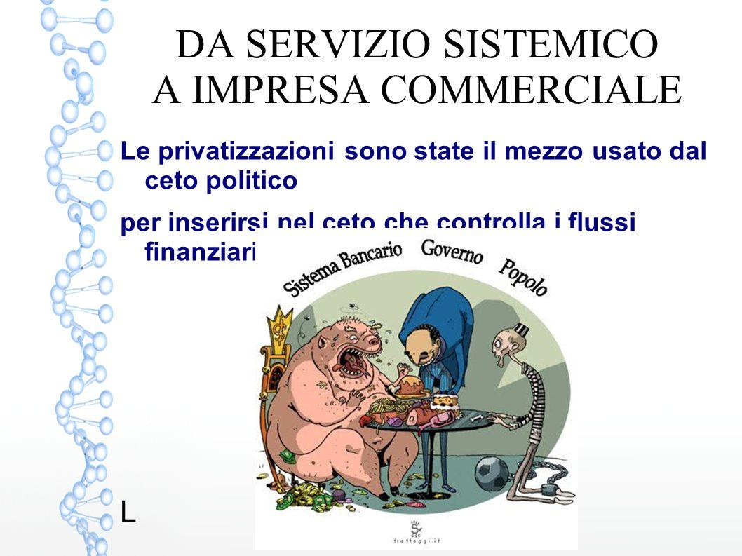 DA SERVIZIO SISTEMICO A IMPRESA COMMERCIALE Le privatizzazioni sono state il mezzo usato dal ceto politico per inserirsi nel ceto che controlla i flus