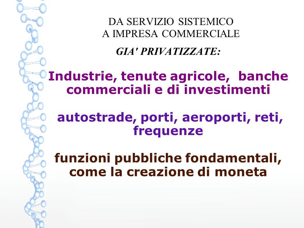 DA SERVIZIO SISTEMICO A IMPRESA COMMERCIALE GIA' PRIVATIZZATE: Industrie, tenute agricole, banche commerciali e di investimenti autostrade, porti, aer