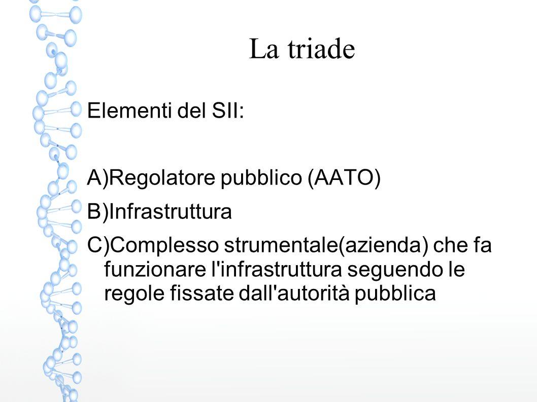 La triade Elementi del SII: A)Regolatore pubblico (AATO) B)Infrastruttura C)Complesso strumentale(azienda) che fa funzionare l'infrastruttura seguendo
