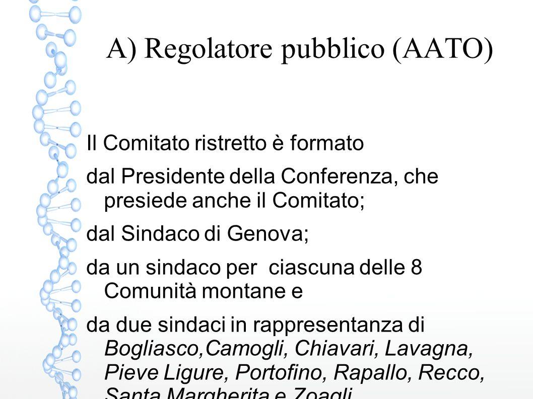 A) Regolatore pubblico (AATO) Il Comitato ristretto è formato dal Presidente della Conferenza, che presiede anche il Comitato; dal Sindaco di Genova;