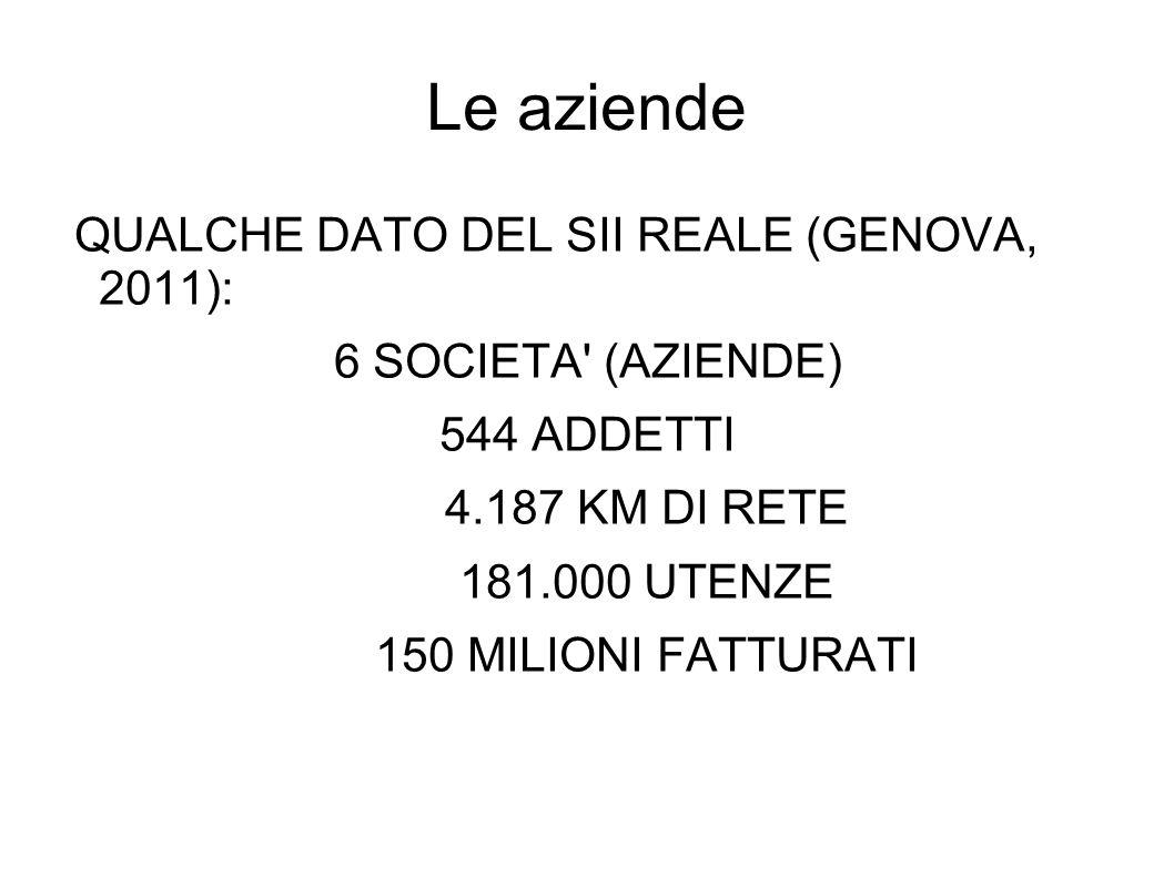 Le aziende QUALCHE DATO DEL SII REALE (GENOVA, 2011): 6 SOCIETA' (AZIENDE) 544 ADDETTI 4.187 KM DI RETE 181.000 UTENZE 150 MILIONI FATTURATI