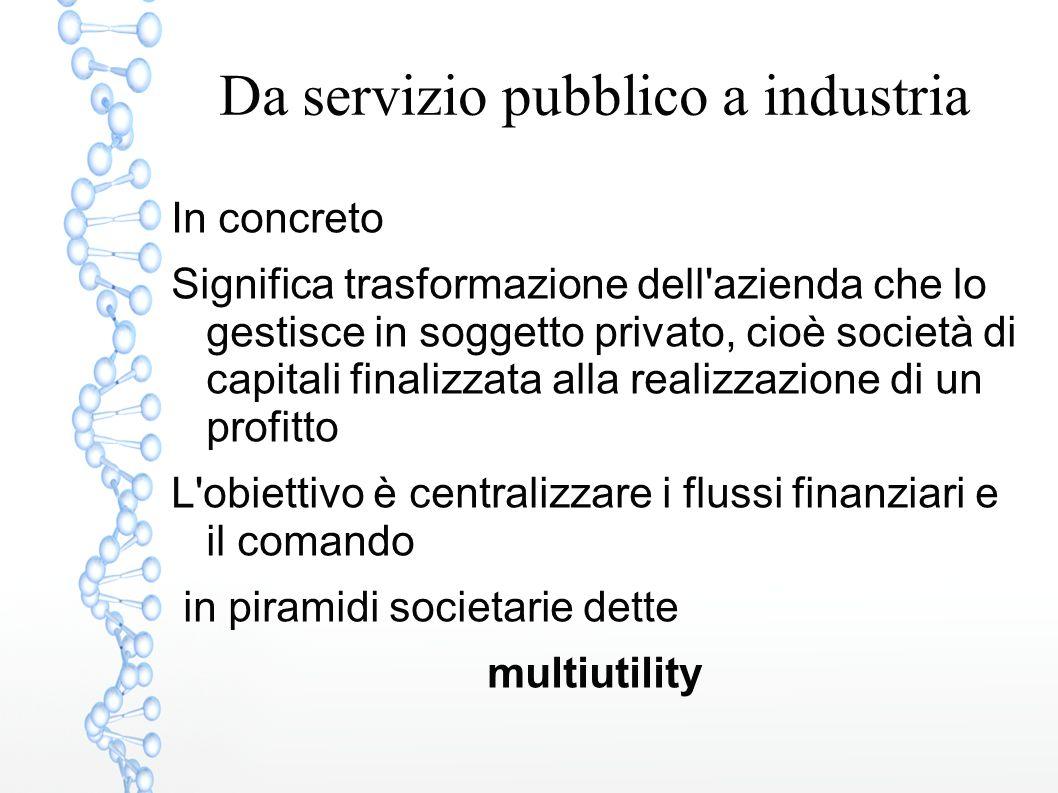 Da servizio pubblico a industria In concreto Significa trasformazione dell'azienda che lo gestisce in soggetto privato, cioè società di capitali final