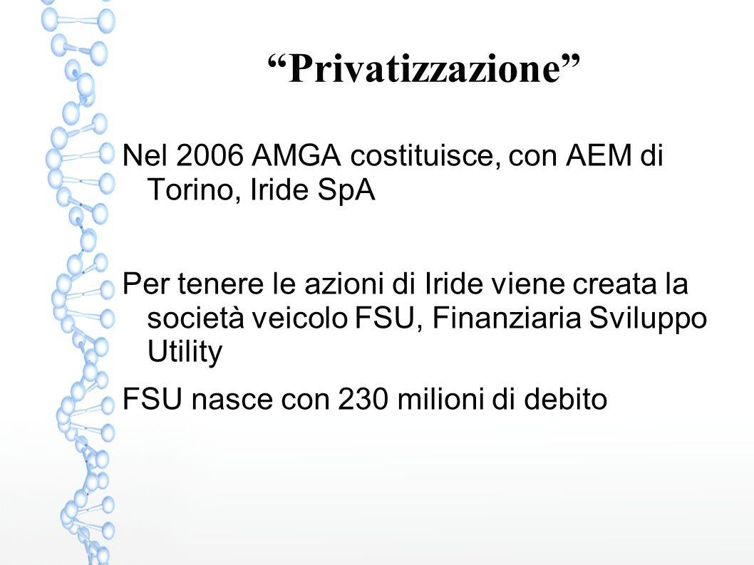 """""""Privatizzazione"""" Nel 2006 AMGA costituisce, con AEM di Torino, Iride SpA Per tenere le azioni di Iride viene creata la società veicolo FSU, Finanziar"""