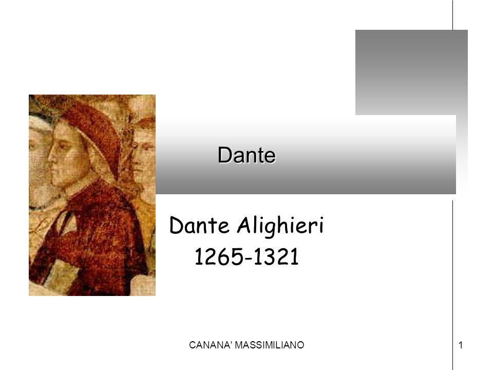 Perché Dante è così importante –È il primo che costruisce un complesso di opere in volgare che riassumono la mentalità medioevale –È il primo a teorizzare l'uso del volgare in letteratura(DE VULGARI ELOQUENTIA) –È il primo intellettuale consapevole del proprio ruolo e funzione (intellettuale comunale ) –È un intellettuale militante (poeta  politica) Non è il primo poeta in volgare maNon è il primo poeta in volgare ma 2CANANA MASSIMILIANO