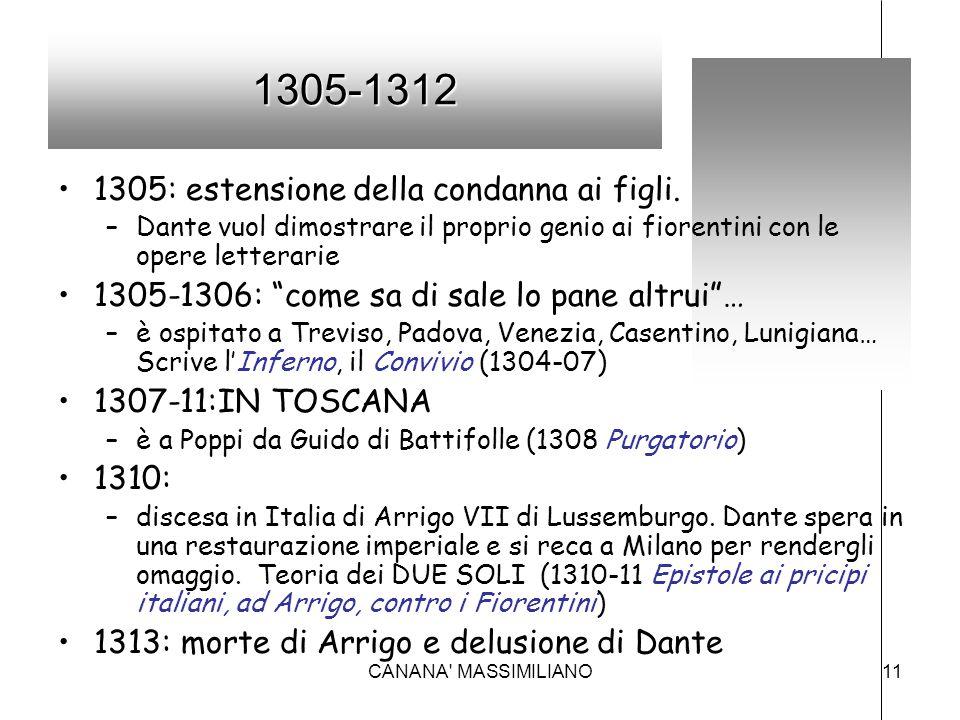 """1305-1312 1305: estensione della condanna ai figli. –Dante vuol dimostrare il proprio genio ai fiorentini con le opere letterarie 1305-1306: """"come sa"""