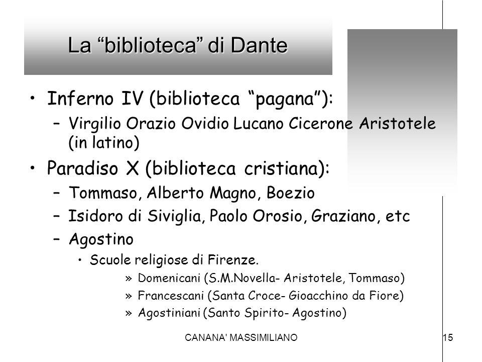 "La ""biblioteca"" di Dante Inferno IV (biblioteca ""pagana""): –Virgilio Orazio Ovidio Lucano Cicerone Aristotele (in latino) Paradiso X (biblioteca crist"