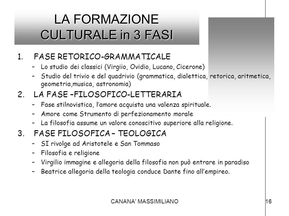 LA FORMAZIONE CULTURALE in 3 FASI 1.FASE RETORICO-GRAMMATICALE –Lo studio dei classici (Virgiio, Ovidio, Lucano, Cicerone) –Studio del trivio e del qu