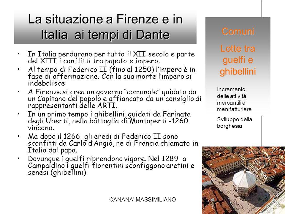 La situazione a Firenze e in Italia ai tempi di Dante In Italia perdurano per tutto il XII secolo e parte del XIII i conflitti tra papato e impero. Al