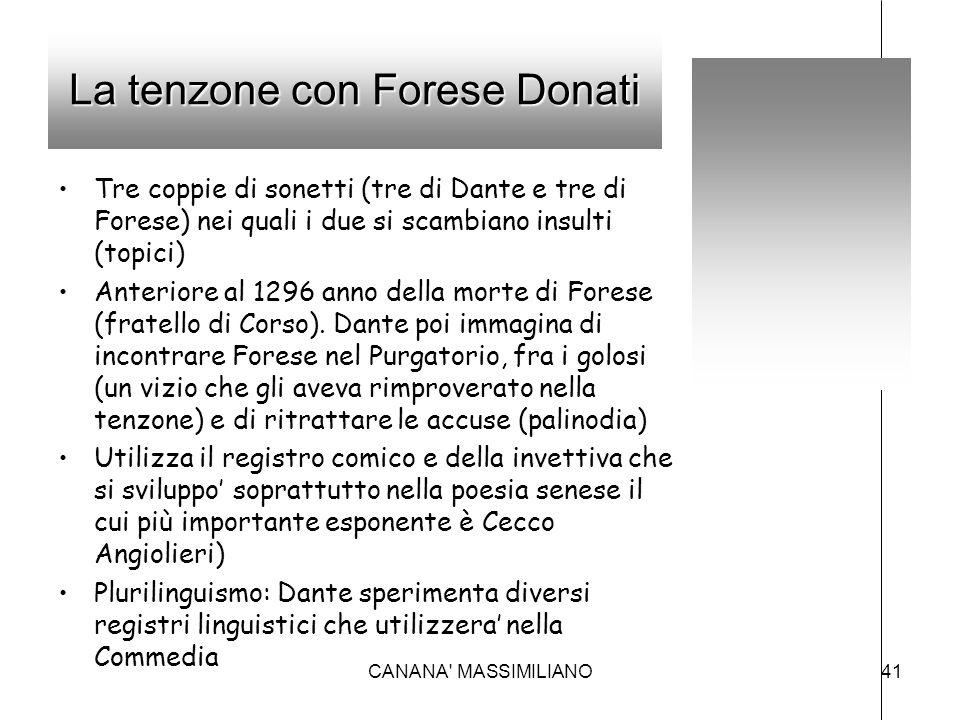 La tenzone con Forese Donati Tre coppie di sonetti (tre di Dante e tre di Forese) nei quali i due si scambiano insulti (topici) Anteriore al 1296 anno