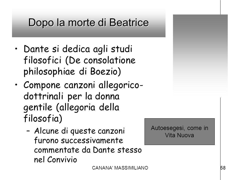 Dopo la morte di Beatrice Dante si dedica agli studi filosofici (De consolatione philosophiae di Boezio) Compone canzoni allegorico- dottrinali per la