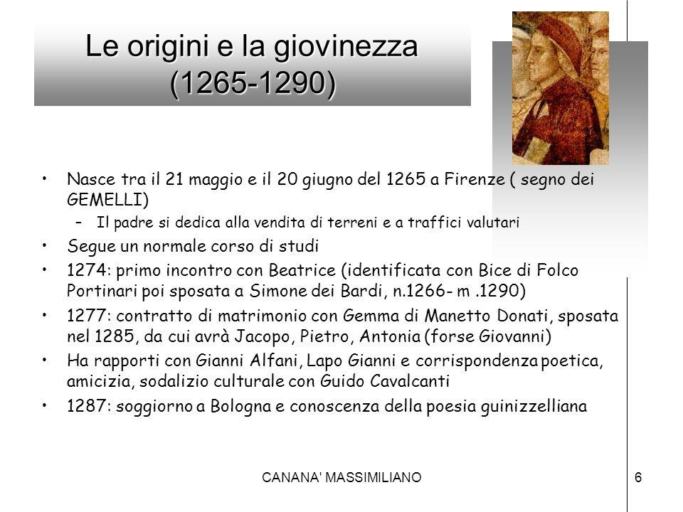 Le origini e la giovinezza (1265-1290) Nasce tra il 21 maggio e il 20 giugno del 1265 a Firenze ( segno dei GEMELLI) –Il padre si dedica alla vendita