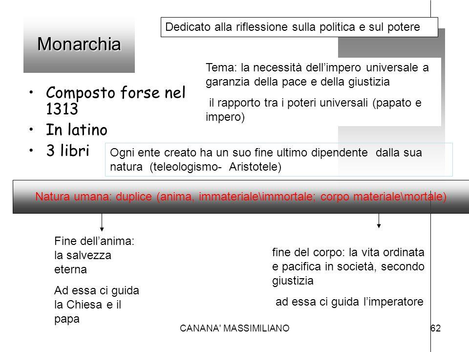Monarchia Composto forse nel 1313 In latino 3 libri Dedicato alla riflessione sulla politica e sul potere Tema: la necessità dell'impero universale a