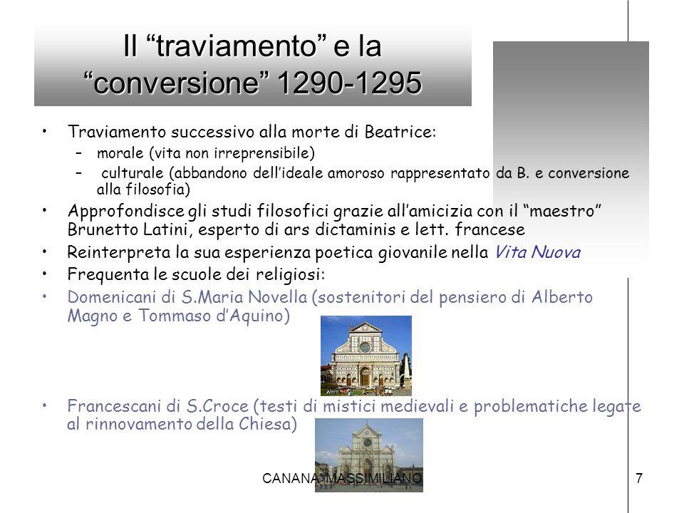 """Il """"traviamento"""" e la """"conversione"""" 1290-1295 Traviamento successivo alla morte di Beatrice: –morale (vita non irreprensibile) – culturale (abbandono"""