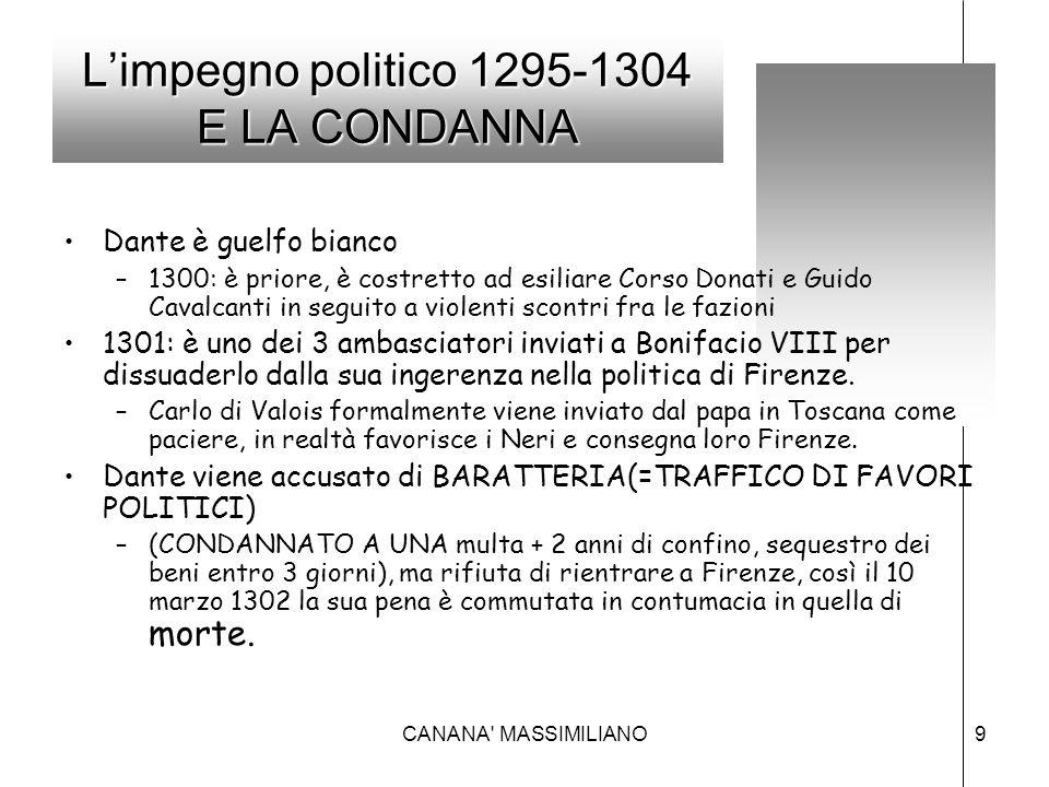 L'impegno politico 1295-1304 E LA CONDANNA Dante è guelfo bianco –1300: è priore, è costretto ad esiliare Corso Donati e Guido Cavalcanti in seguito a