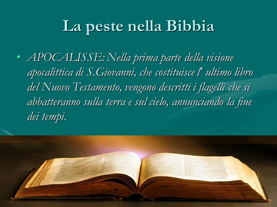 La peste nella Bibbia APOCALISSE: Nella prima parte della visione apocalittica di S.Giovanni, che costituisce l' ultimo libro del Nuovo Testamento, ve
