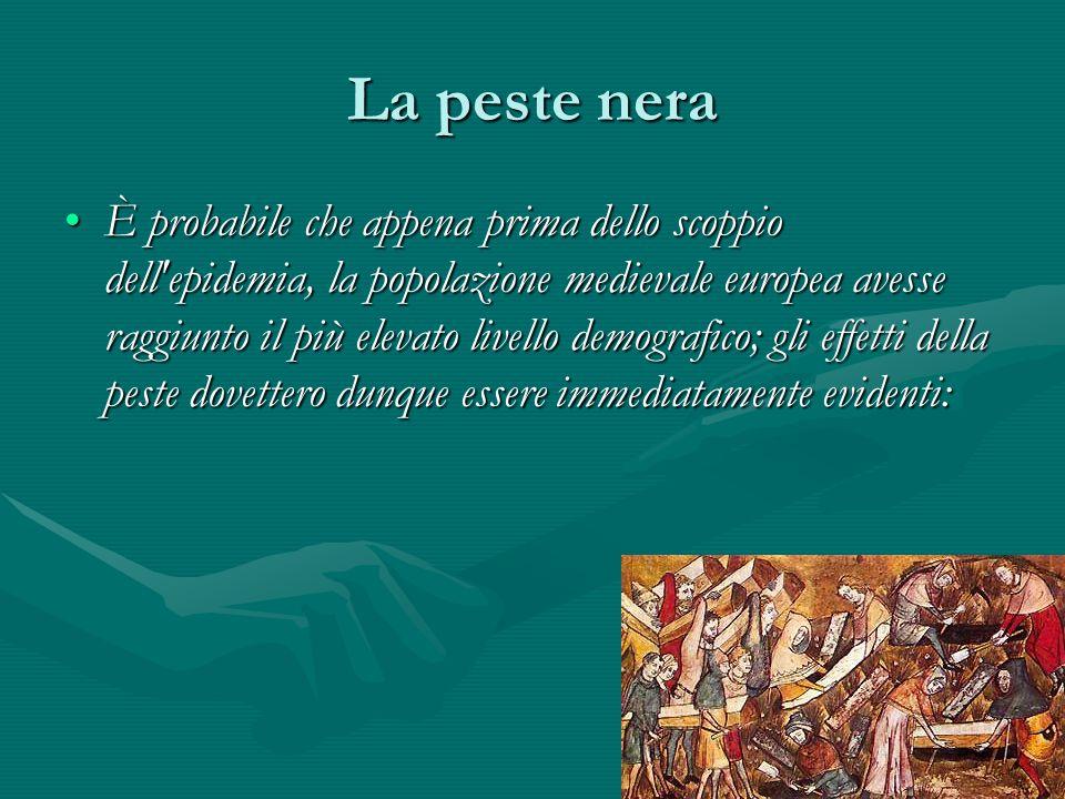 La peste nera È probabile che appena prima dello scoppio dell'epidemia, la popolazione medievale europea avesse raggiunto il più elevato livello demog