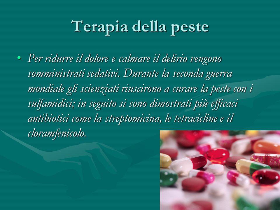 Terapia della peste Per ridurre il dolore e calmare il delirio vengono somministrati sedativi. Durante la seconda guerra mondiale gli scienziati riusc