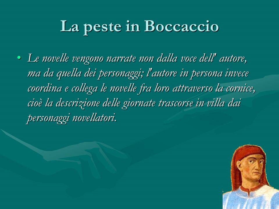 La peste in Boccaccio Le novelle vengono narrate non dalla voce dell' autore, ma da quella dei personaggi; l'autore in persona invece coordina e colle