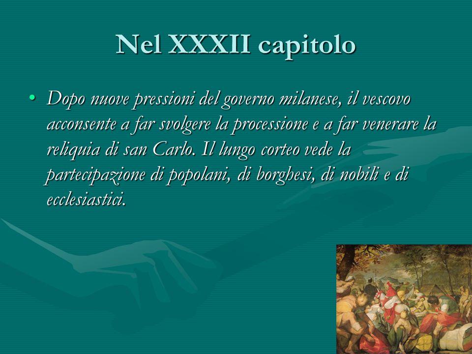 Nel XXXII capitolo Dopo nuove pressioni del governo milanese, il vescovo acconsente a far svolgere la processione e a far venerare la reliquia di san
