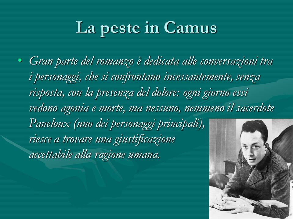 La peste in Camus Gran parte del romanzo è dedicata alle conversazioni tra i personaggi, che si confrontano incessantemente, senza risposta, con la pr