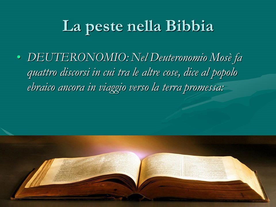 La peste nella Bibbia DEUTERONOMIO: Nel Deuteronomio Mosè fa quattro discorsi in cui tra le altre cose, dice al popolo ebraico ancora in viaggio verso