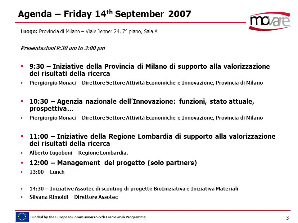 Funded by the European Commission's Sixth Framework Programme 3 Agenda – Friday 14 th September 2007 Luogo: Provincia di Milano – Viale Jenner 24, 7°