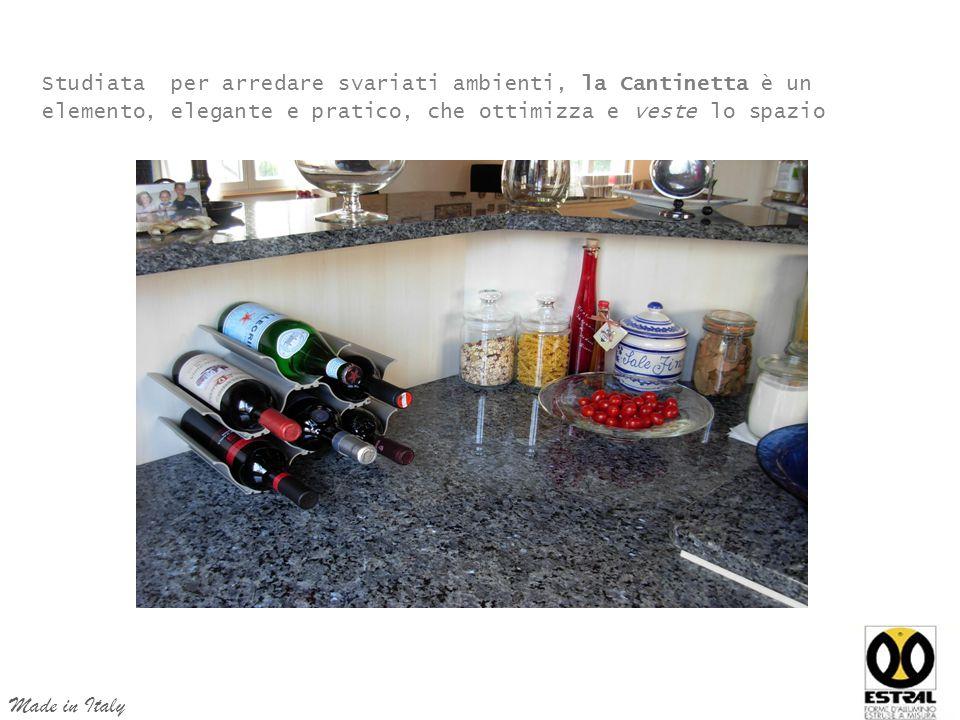 Studiata per arredare svariati ambienti, la Cantinetta è un elemento, elegante e pratico, che ottimizza e veste lo spazio Made in Italy