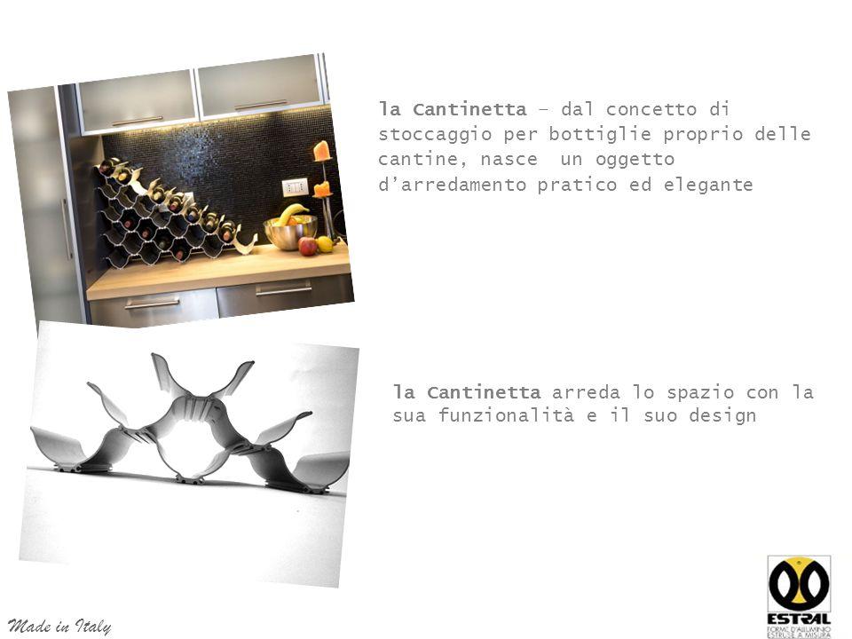 la Cantinetta – dal concetto di stoccaggio per bottiglie proprio delle cantine, nasce un oggetto d'arredamento pratico ed elegante la Cantinetta arreda lo spazio con la sua funzionalità e il suo design Made in Italy