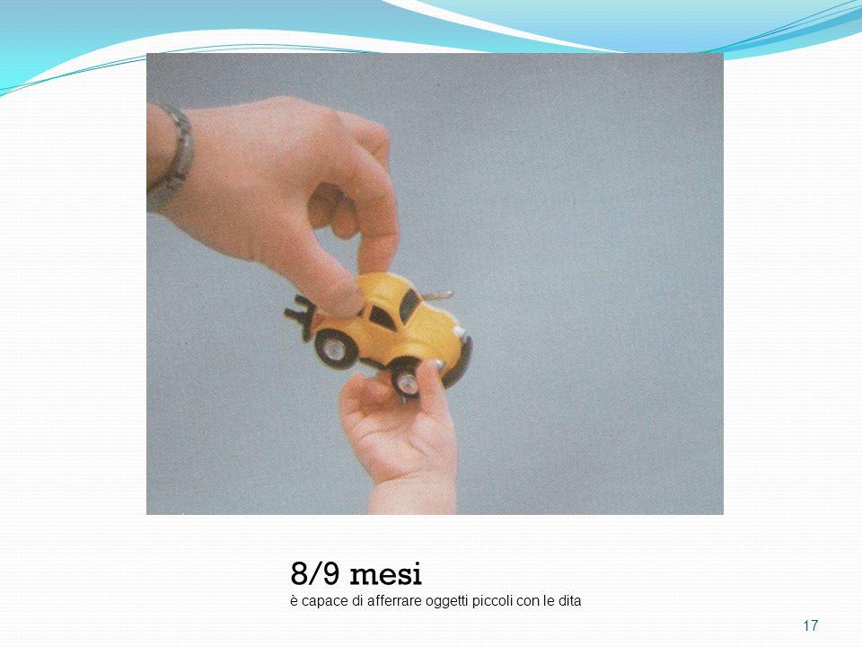 8/9 mesi è capace di afferrare oggetti piccoli con le dita 17