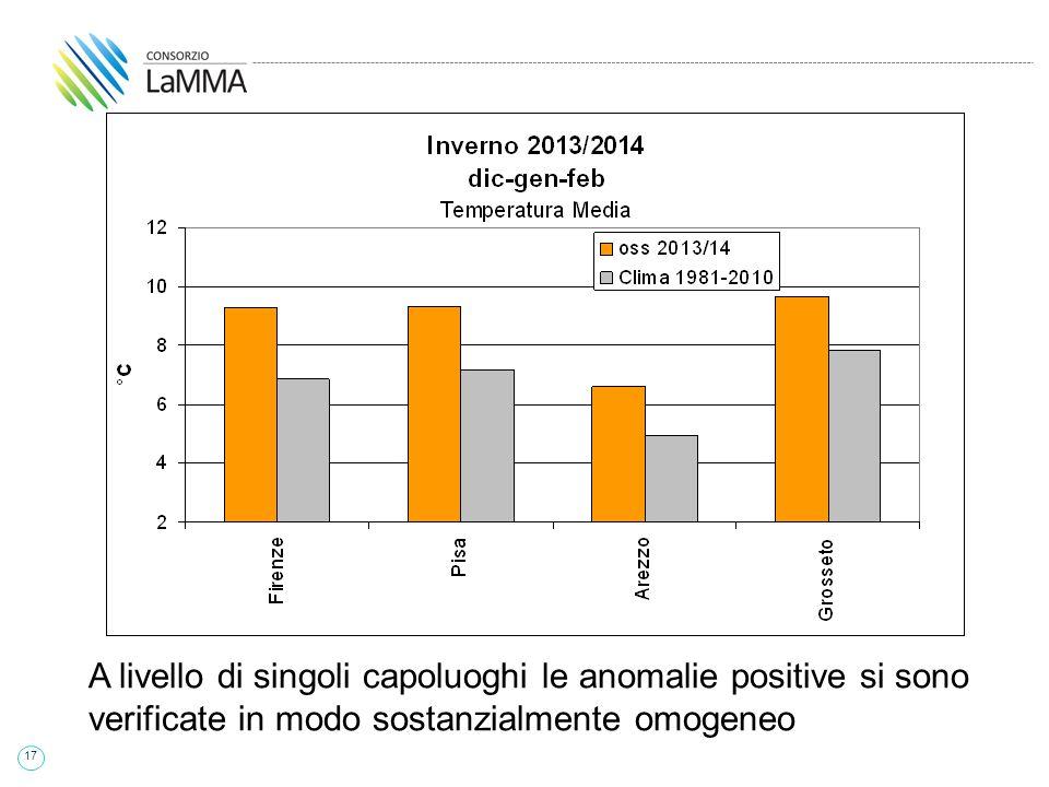17 A livello di singoli capoluoghi le anomalie positive si sono verificate in modo sostanzialmente omogeneo