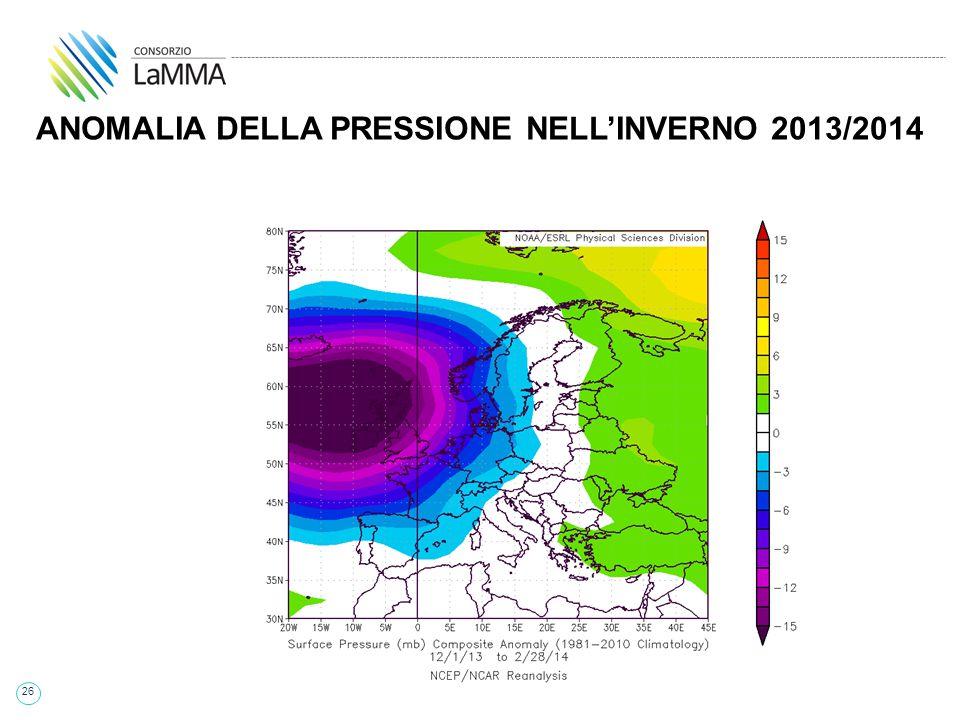 26 ANOMALIA DELLA PRESSIONE NELL'INVERNO 2013/2014