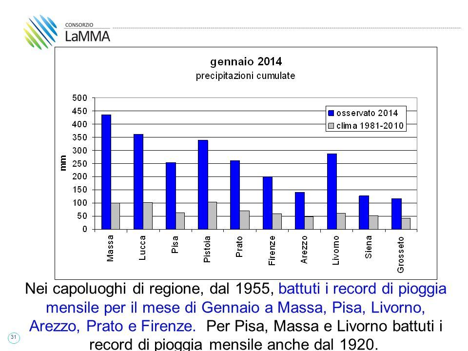 31 Nei capoluoghi di regione, dal 1955, battuti i record di pioggia mensile per il mese di Gennaio a Massa, Pisa, Livorno, Arezzo, Prato e Firenze.