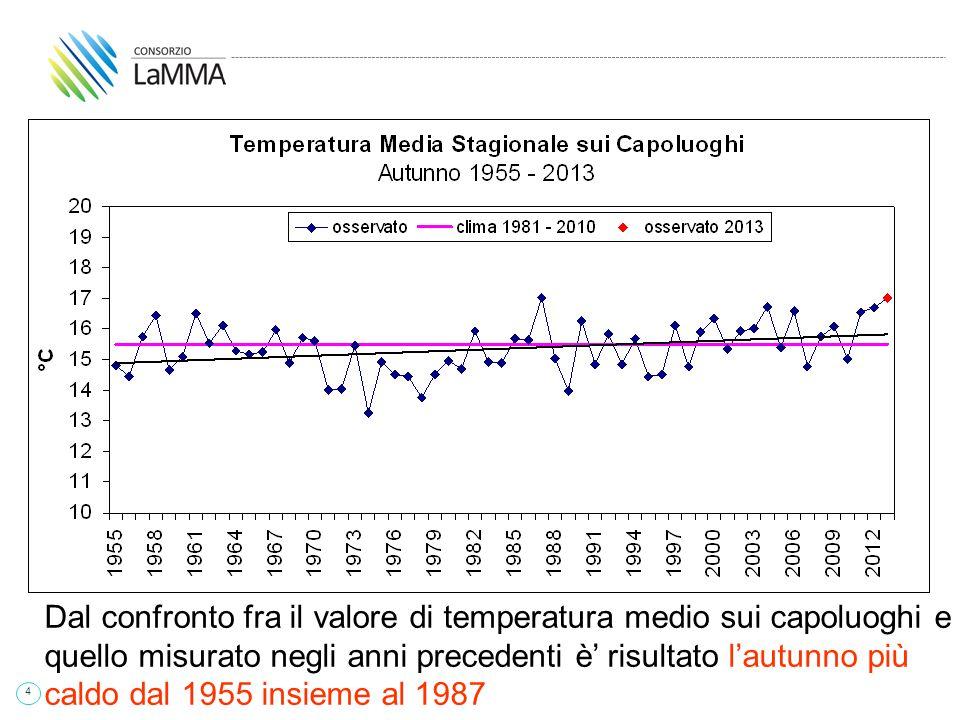 4 Dal confronto fra il valore di temperatura medio sui capoluoghi e quello misurato negli anni precedenti è' risultato l'autunno più caldo dal 1955 insieme al 1987