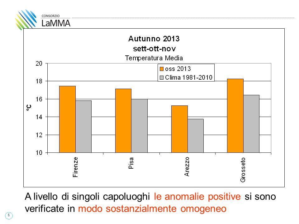 5 A livello di singoli capoluoghi le anomalie positive si sono verificate in modo sostanzialmente omogeneo