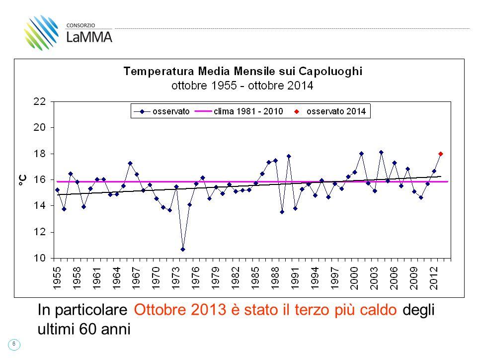 7 In particolare Novembre 2013 è stato il 6° più caldo degli ultimi 60 anni