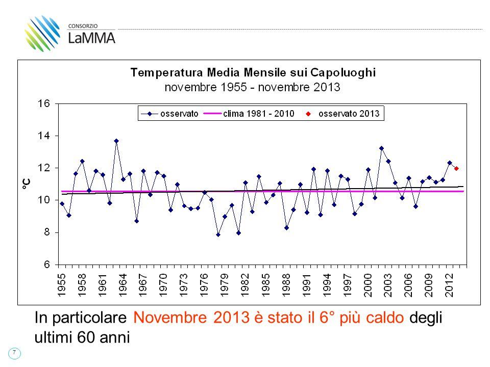 38 Primavera 2014 Trend delle temperature medie dei capoluoghi - si posiziona al 9° posto fra le primavere più calde degli ultimi 55 anni