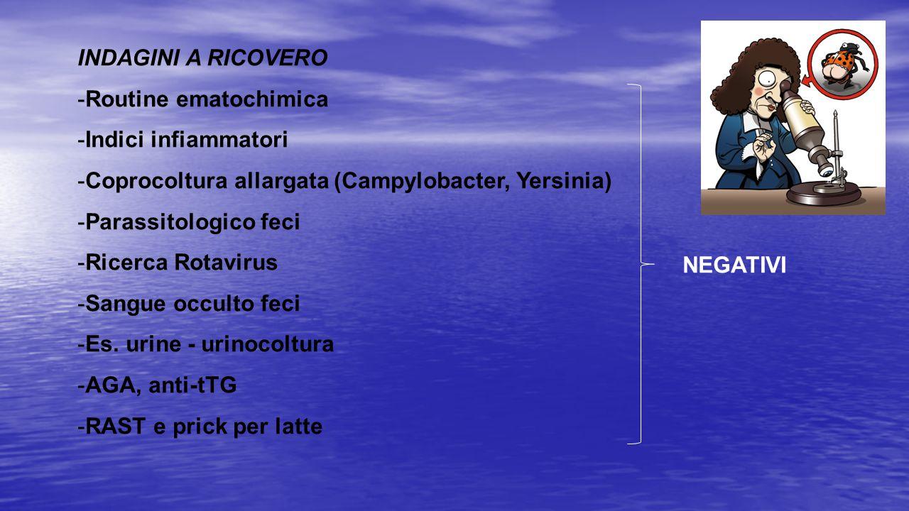 NEGATIVI INDAGINI A RICOVERO -Routine ematochimica -Indici infiammatori -Coprocoltura allargata (Campylobacter, Yersinia) -Parassitologico feci -Ricer