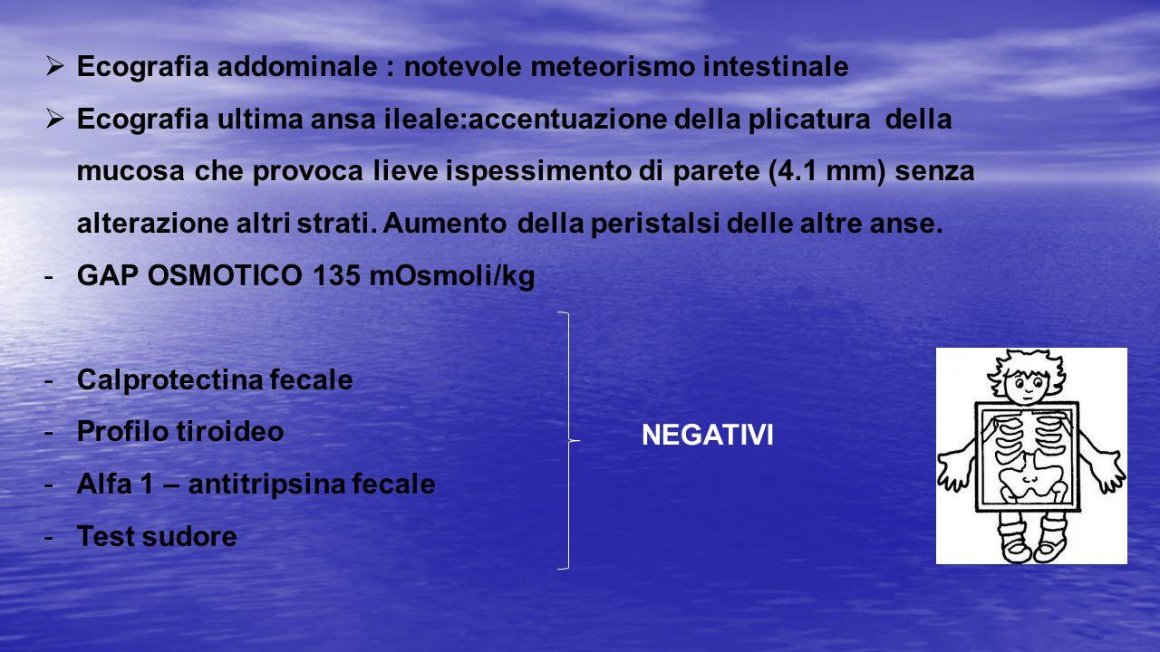  Ecografia addominale : notevole meteorismo intestinale  Ecografia ultima ansa ileale:accentuazione della plicatura della mucosa che provoca lieve i