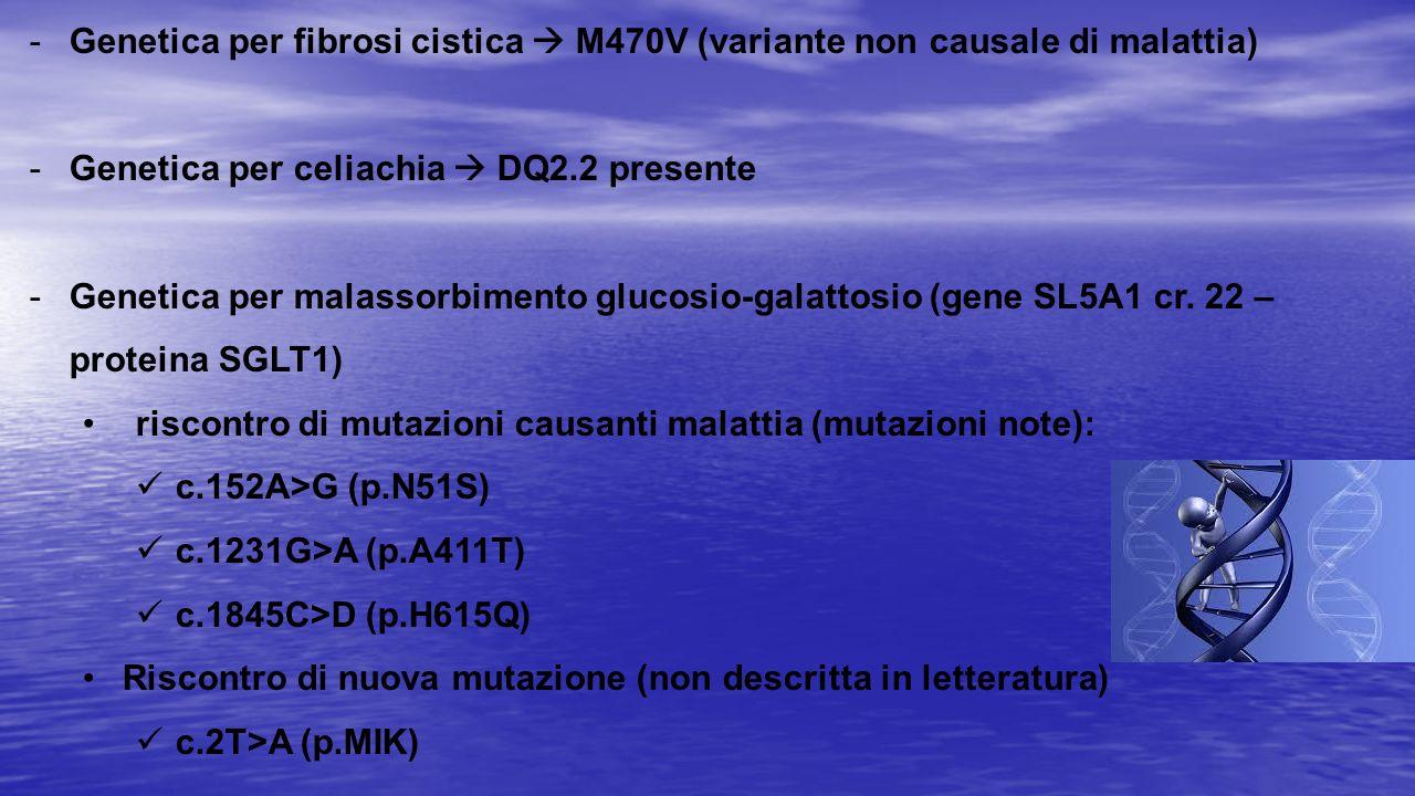 -Genetica per fibrosi cistica  M470V (variante non causale di malattia) -Genetica per celiachia  DQ2.2 presente -Genetica per malassorbimento glucos