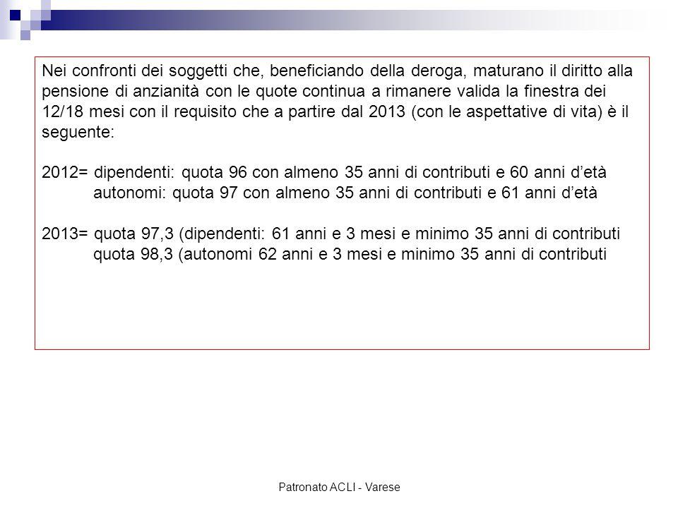 Patronato ACLI - Varese In parole semplici: - Giovanna nata il 10/05/1952 è autorizzata ai versamenti volontari il 23/2/1989 ma non ha mai versato alcun contributo volontario; inoltre, alla data del 28/2/1989 ha una posizione contributiva di 780 settimane da lavoro dipendente … Non avendo versato alcun contributo volontario prima del 6 dicembre 2011 non rientra nella platea dei salvaguardati -Giovanna nata il 10/05/1952 è autorizzata ai versamenti volontari il 23/2/1989 alla data del 31/05/2012 può far valere 780 settimane di cui 520 settimane da versamenti volontari collocate nell'ultima parte della sua carriera contributiva.