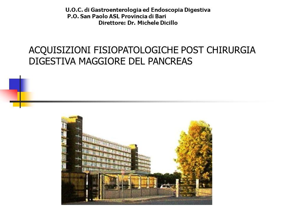 U.O.C. di Gastroenterologia ed Endoscopia Digestiva P.O. San Paolo ASL Provincia di Bari Direttore: Dr. Michele Dicillo ACQUISIZIONI FISIOPATOLOGICHE