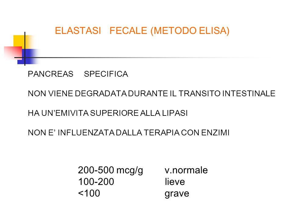 ELASTASI FECALE (METODO ELISA) PANCREAS SPECIFICA NON VIENE DEGRADATA DURANTE IL TRANSITO INTESTINALE HA UN'EMIVITA SUPERIORE ALLA LIPASI NON E' INFLUENZATA DALLA TERAPIA CON ENZIMI 200-500 mcg/g v.normale 100-200 lieve <100 grave