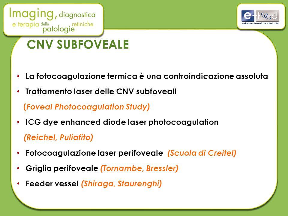 La fotocoagulazione termica è una controindicazione assoluta Trattamento laser delle CNV subfoveali ( Foveal Photocoagulation Study) ICG dye enhanced